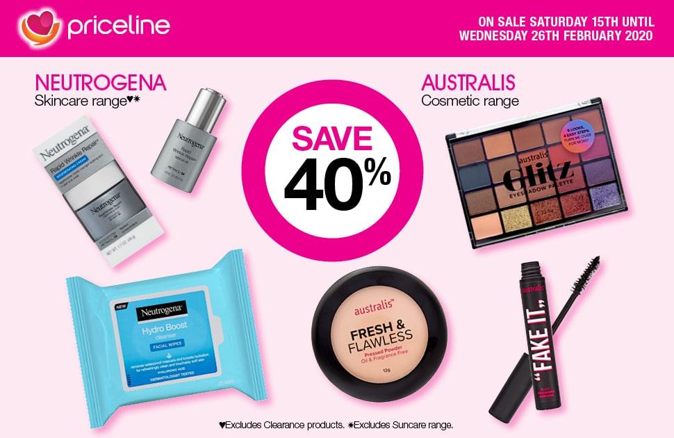 Save 40% on Neutrogena Skincare & Australis Cosmetics
